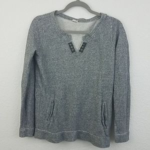 J Crew xs pullover sweater gray metal accent